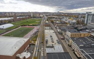 View of W. Garage looking down Vassar Street (Photo: C. Harting)