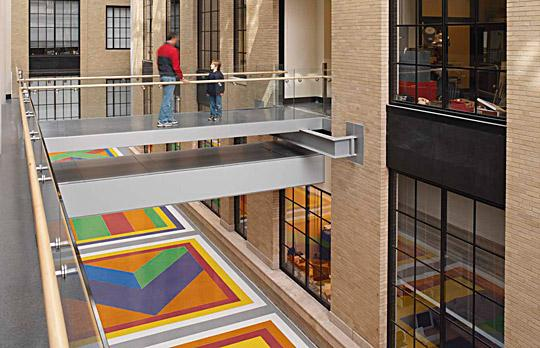 Physics atrium with art image
