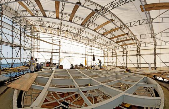Dome skylight work beneath tent