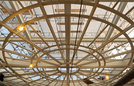 Dome skylight in construction interior view