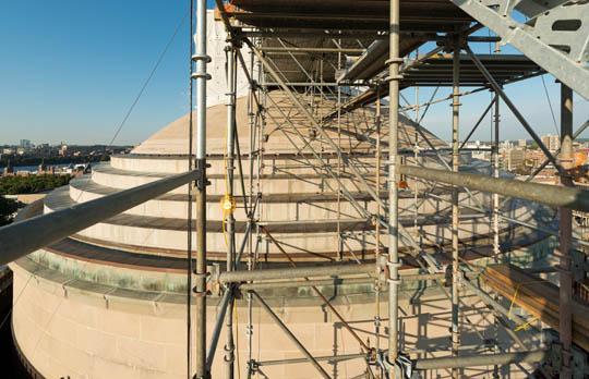 Dome skylight work exterior scaffolding
