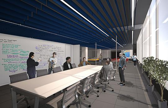 Rendering Innovation Initiative meeting space, Courtesy NADAAA