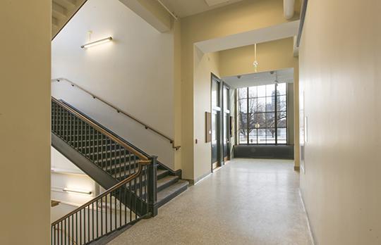 Building 2. Hallway windows open to the river (Vanderwarker)